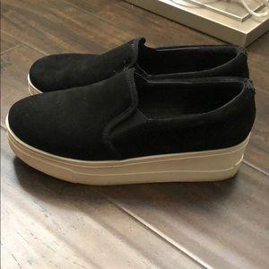 Black suede platform J/Slides